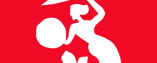 Ilustracja dekoracyjna. Baner zapraszający na wykład o ludowej historii Warszawy. Czerwone tło, a na nim biała, stylizowana postać warszawskiej syrenki.