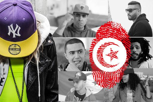 Ilustracja dekoracyjna. na zdjęciach twarze tunezyjskich raperów i odcisk palca w kolorach i motywie flagi Tunezji.