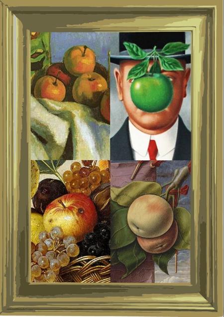 Plakat do projektu: Jeden Motyw - Wiele epok. Motywem graficznym jest jabłko...