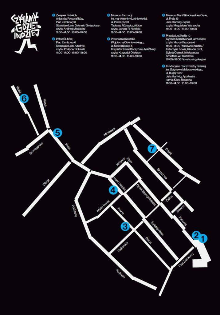 """Mapka z lokalizacjami czytań w ramach wydarzenia """"Czytamy gdzie indziej"""""""